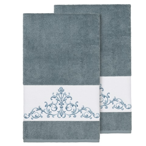 Authentic Hotel and Spa Teal Blue Turkish Cotton Scrollwork Embroidered Bath Towels (Set of 2)