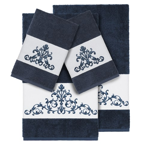 Authentic Hotel and Spa Midnight Blue Turkish Cotton Scrollwork Embroidered 4 piece Towel Set
