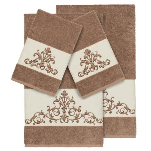 Authentic Hotel and Spa Latte Brown Turkish Cotton Scrollwork Embroidered 4 piece Towel Set