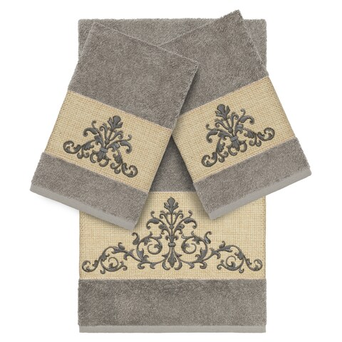 Authentic Hotel and Spa Grey Turkish Cotton Scrollwork Embroidered 3 piece Towel Set