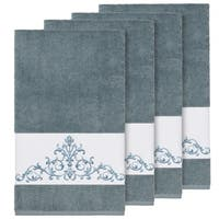 Authentic Hotel and Spa Teal Blue Turkish Cotton Scrollwork Embroidered Bath Towels (Set of 4)