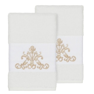 Authentic Hotel and Spa White Turkish Cotton Scrollwork Embroidered Hand Towels (Set of 2)