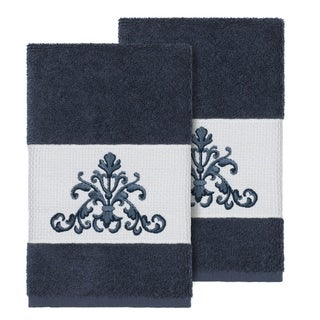 Link to Authentic Hotel and Spa Midnight Blue Turkish Cotton Scrollwork Embroidered Hand Towels (Set of 2) Similar Items in Towels