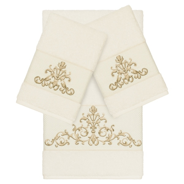 Authentic Hotel and Spa Cream Turkish Cotton Scrollwork Embroidered 3 piece Towel Set