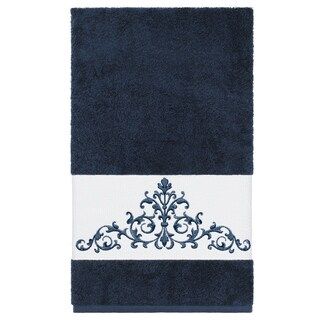 Authentic Hotel and Spa Midnight Blue Turkish Cotton Scrollwork Embroidered Bath Towel