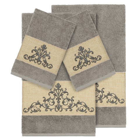 Authentic Hotel and Spa Grey Turkish Cotton Scrollwork Embroidered 4 piece Towel Set