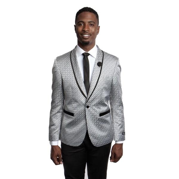 Mens Blazer Slim Fit Solid Sports Coat Blazer Jacket featuring Shawl Lapel