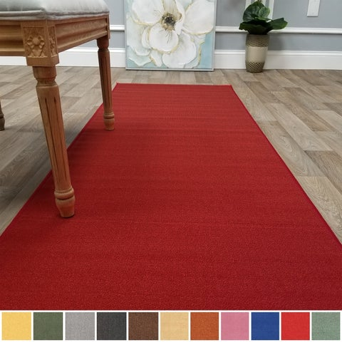 "Kapaqua Solid Colored Non-Slip Runner Rug Rubber Backed 2x8 - 1'10"" x 8'"