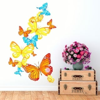 """Butterfly Ornament Full Color Wall Decal Sticker K-1013 FRST Size 30""""x47"""""""