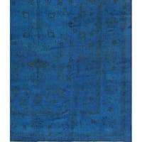 Pasargad NY Handmade Genuine Overdyed Oushak Blue Wool Area Rug
