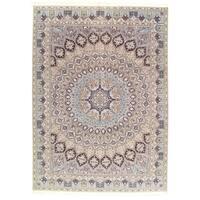 Pasargad NY Fine Persian Nain Handmade Beige/Blue Silk/Wool/Cotton 6-line Rug (8'4 x 11'8)