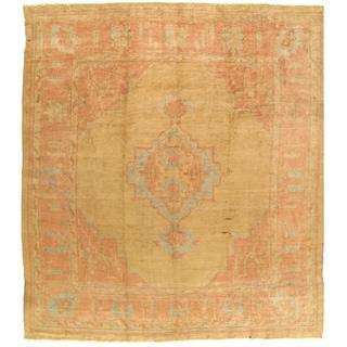 Pasargad NY Gold Wool Turkish Angora Oushak Antique Handmade Rug