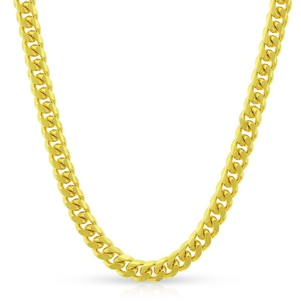 40934a099e344 Shop 10k Yellow Gold 4mm Solid Miami Cuban Curb Link Thick Necklace ...