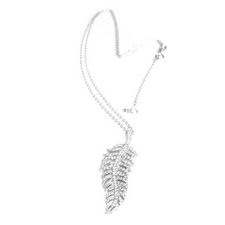 "Queenberry Sterling Silver Feathers Clear CZ Charm Pendant W/ SS Oval Ring Rolo Link Cable Chain Adjustable Necklace 16"" / 18"""