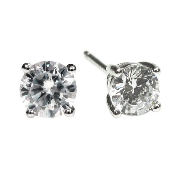 16c829b68 Shop Rhodium Sterling Silver 4mm Round Clear CZ Crystal Stud Earring Posts  - Free Shipping On Orders Over $45 - Overstock - 21142194
