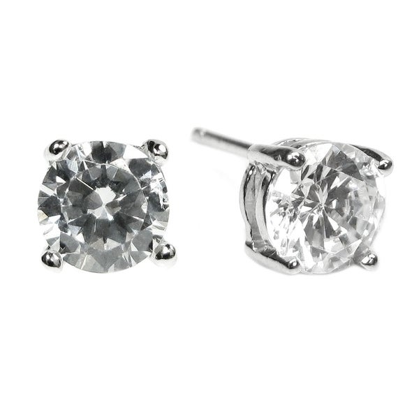 2dbec7df8 Shop Rhodhium Sterling Silver 6mm Round Clear CZ Crystal Stud Earring Posts  - On Sale - Free Shipping On Orders Over $45 - Overstock - 21142201