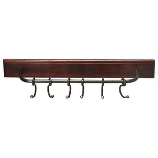 Offex Glendo Iron and Wood Rectangular Wall Rack - MultiColor