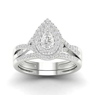 De Couer 10k Gold 1/2ct TDW Diamond Halo Bridal Ring