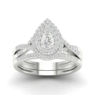 De Couer 10k Gold 1/2ct TDW Diamond Halo Bridal Ring (More options available)