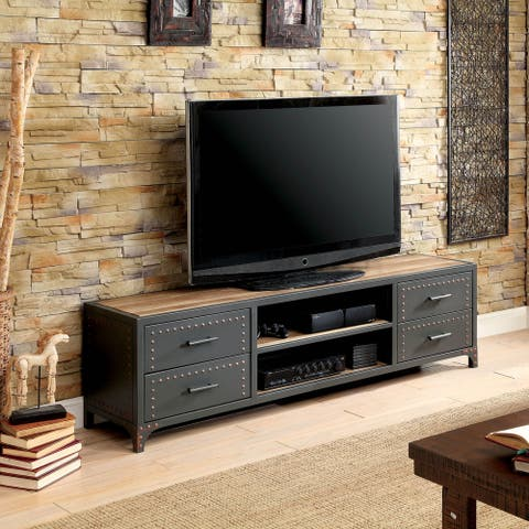 Furniture of America Jals Industrial Grey Wood 4-drawer TV Stand