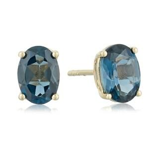 Link to Pinctore 10k Yellow Gold London Blue Topaz Oval Stud Earrings Similar Items in Earrings