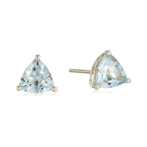 Pinctore 10k Yellow Gold Aquamarine Trillion Stud Earrings