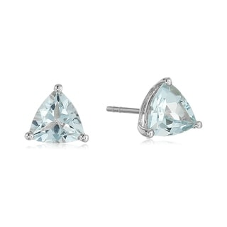 Link to Pinctore 10k White Gold Aquamarine Trillion Stud Earrings Similar Items in Earrings