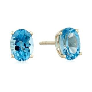 Link to 10k Yellow Gold Swiss Blue Topaz Oval Stud Earrings Similar Items in Earrings