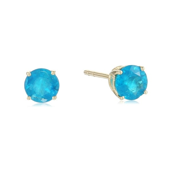 0afd9fc78 Shop Pinctore 10k Yellow Gold Neon Apatite Round Stud Earrings - On Sale -  Free Shipping Today - Overstock - 21143531