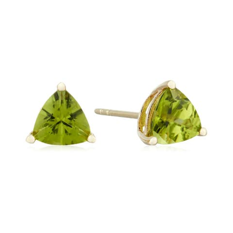 Pinctore 10k Yellow Gold Peridot Trillion Stud Earrings