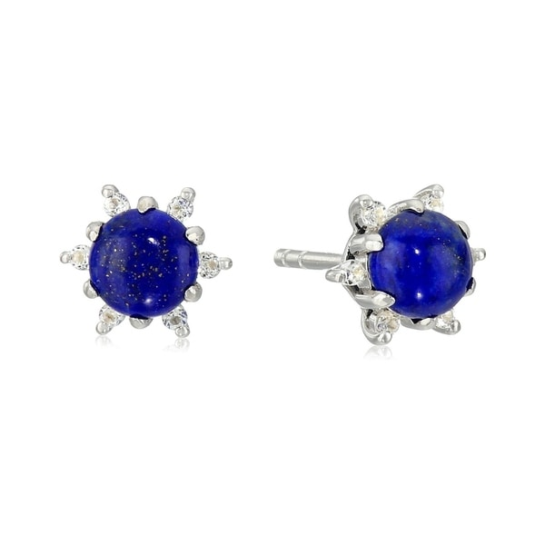 Sterling Silver Lapis And Created White Sapphire Evil Eye Stud Earrings