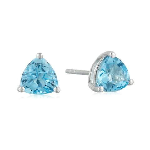 10k White Gold Swiss Blue Topaz Trillion Stud Earrings