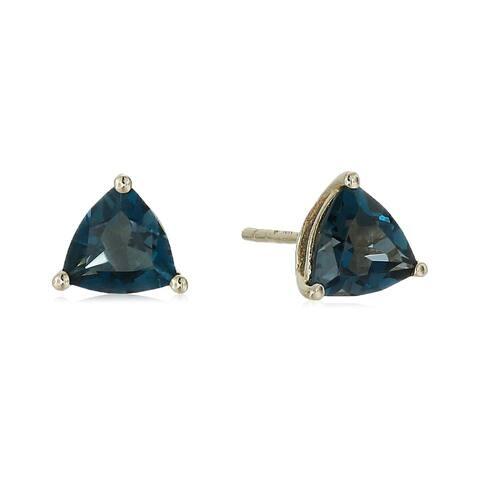 Pinctore 10k Yellow Gold London Blue Topaz Trillion Stud Earrings