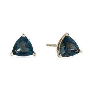 Link to Pinctore 10k Yellow Gold London Blue Topaz Trillion Stud Earrings Similar Items in Earrings