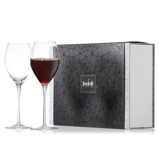 JoyJolt Layla Non-Leaded Crystal Long Stemmed Wine Glasses, Set of 2 13.5 oz