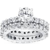 Bliss 4 ct TDW Diamond Eternity Engagement Wedding Ring Set 14K White Gold Clarity Enhanced
