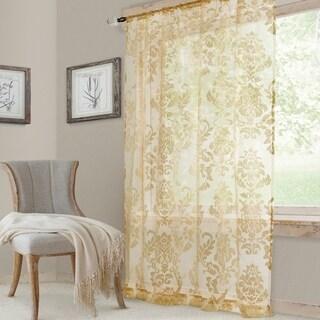 Elrene Valentina Jacquard Damask Sheer Window Curtain
