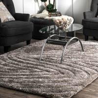 nuLOOM Grey Brown Handmade Cozy Soft Contemporary Textured Shag Area Rug - 5' x 8'