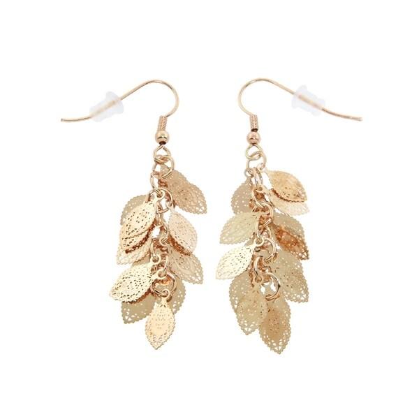 Eternally Haute 14k Gold Plated Filigree Cer Leaf Dangle Earrings