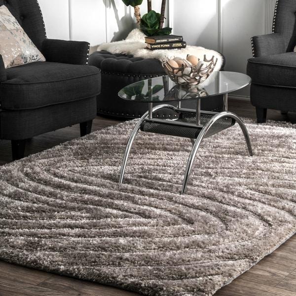 Cosy Textured Wool Rug: Shop NuLOOM Grey Brown Handmade Cozy Soft Contemporary