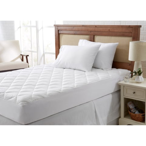 Home Fashions Designs Cooling Mattress Pad with 100% Polyester Filling - White