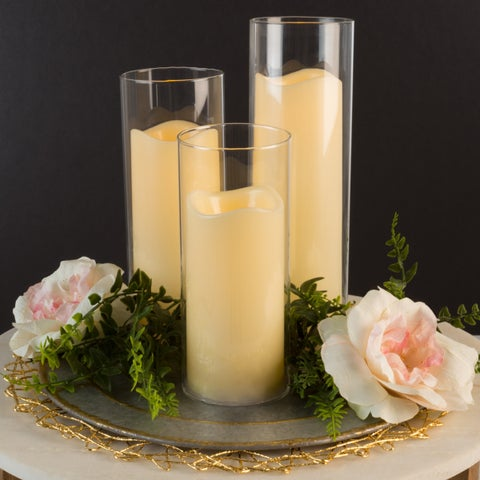 Flameless LED Candles-Set of 3 Battery Powered Decorative Flickering Candles in Cylinder Glass Insert Holders by Lavish Home