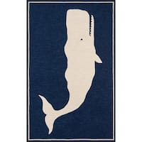 Momeni Veranda Navy Blue/Cream Handmade Whale Casual Indoor/Outdoor Rug - 8' x 10'