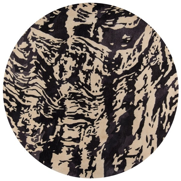 "Momeni New Wave Wool Hand Tufted Charcoal Area Rug - 7'9"" x 7'9"""