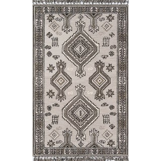 Momeni Tahoe Grey Wool Handmade Area Rug - 5' x 8'