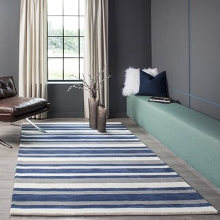 "Momeni Metro Wool Hand Tufted Navy Runner - 2'3"" x 8'"