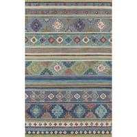 Momeni Handmade Tangier Blue Wool Area Rug - 5' x 8'