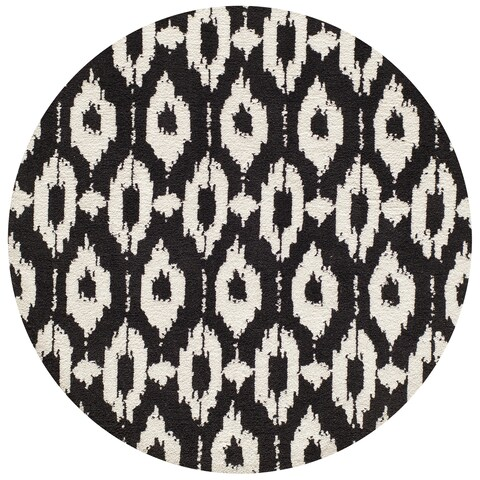 Momeni Heavenly Polyester Hand Tufted Black Area Rug - 4' x 4'