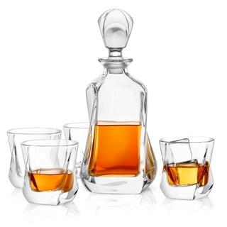 JoyJolt Aurora Non-Leaded Crystal 5 Piece Whiskey Decanter Set, Scotch Decanter with 4 Old Fashioned Glasses