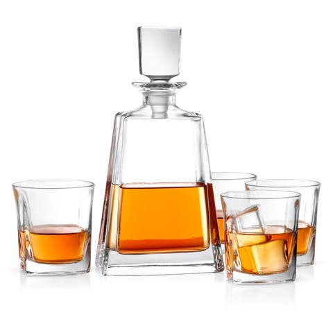 JoyJolt Luna Non-Leaded Crystal 5 Piece Whiskey Decanter Set; Scotch Decanter with 4 Old Fashioned Glasses